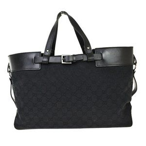 GUCCI GG Pattern Shoulder Tote Bag Leather Canvas Black Silver Italy 69BT690